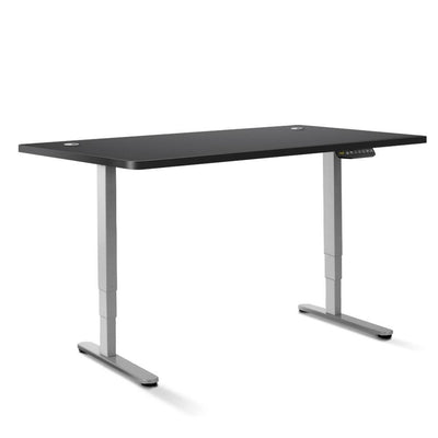 Electric Motorised Height Adjustable Standing Desk - Grey Frame with 160cm Black Top | 360HomeWare