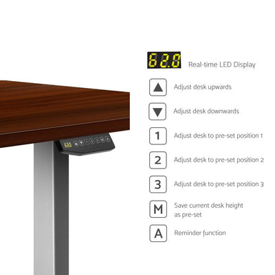 Electric Motorised Height Adjustable Standing Desk - Grey Frame with 160cm Walnut Top | 360HomeWare