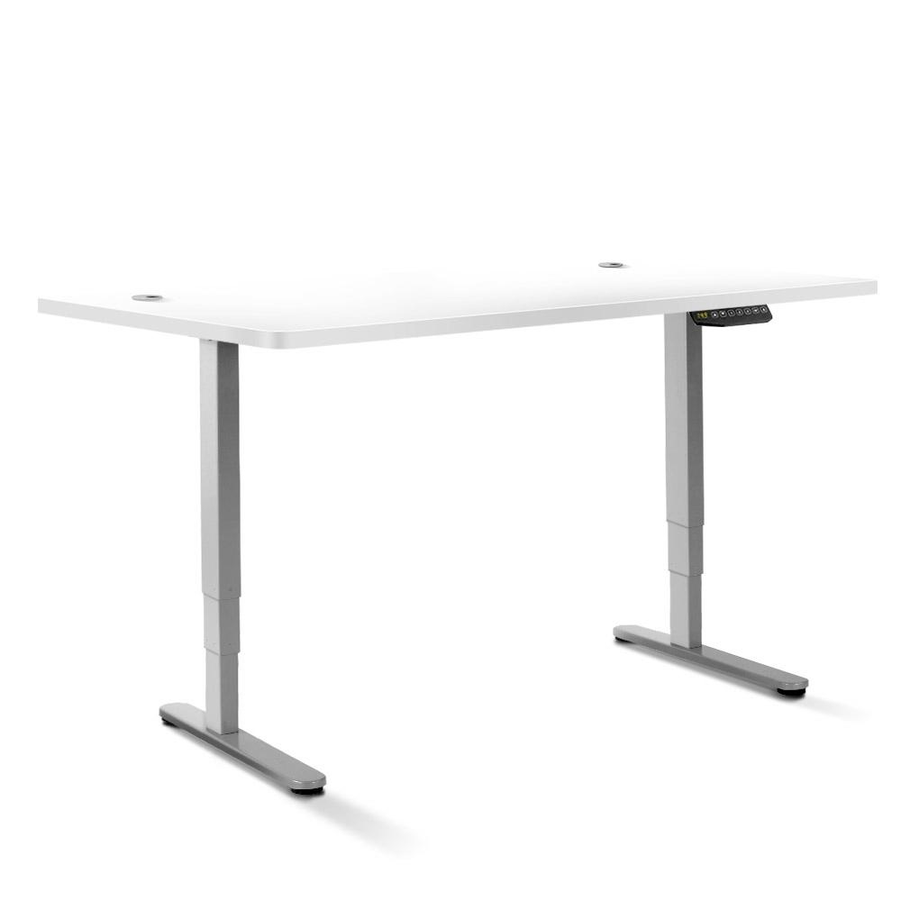 Electric Motorised Height Adjustable Standing Desk - Grey Frame with 160cm White Top | 360HomeWare
