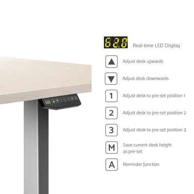 Artiss Height Adjustable Standing Desk Sit Stand Motorised Electric Roskos III Grey White Oak | 360HomeWare
