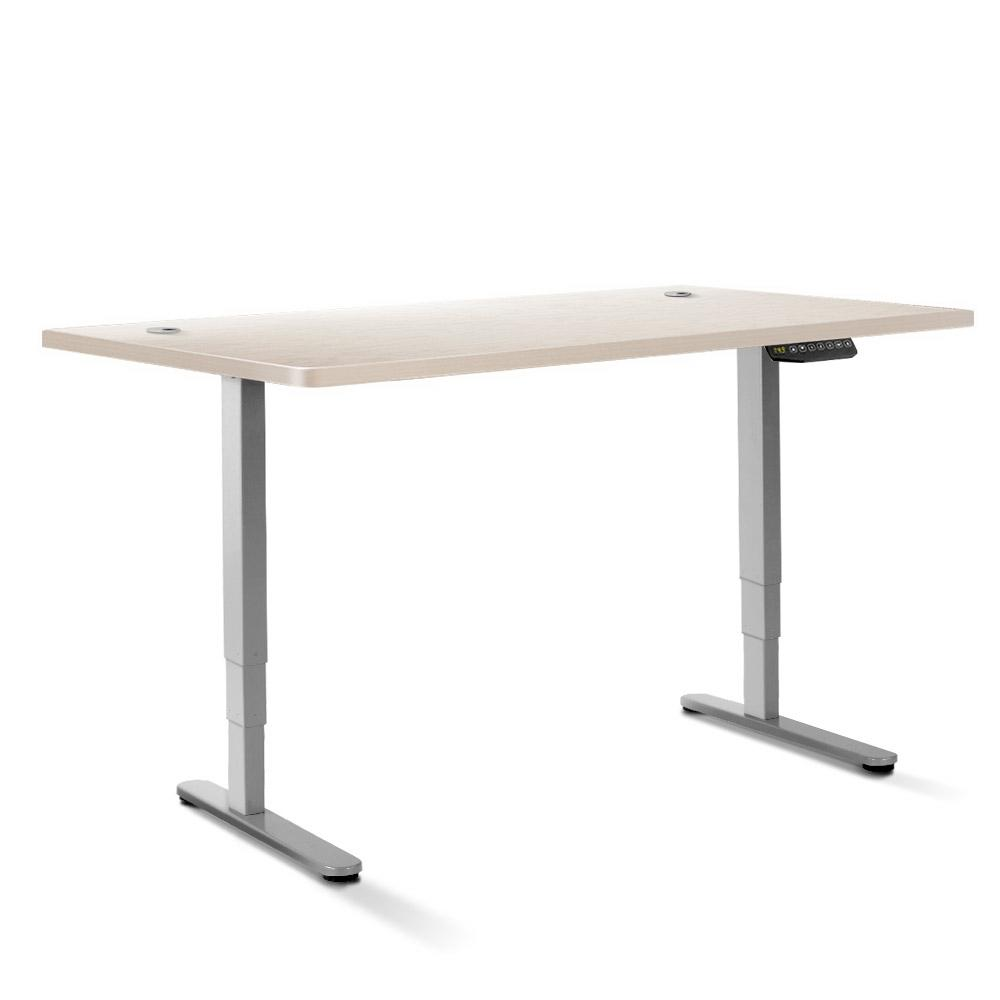 Electric Motorised Height Adjustable Standing Desk - Grey Frame with 160cm White Oak Top | 360HomeWare
