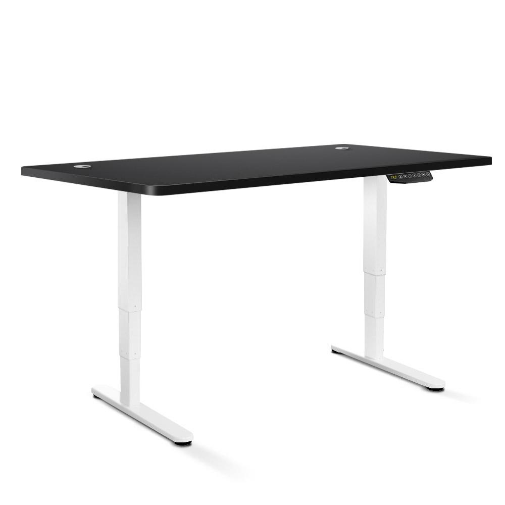 Electric Motorised Height Adjustable Standing Desk - White Frame with 160cm Black Top | 360HomeWare