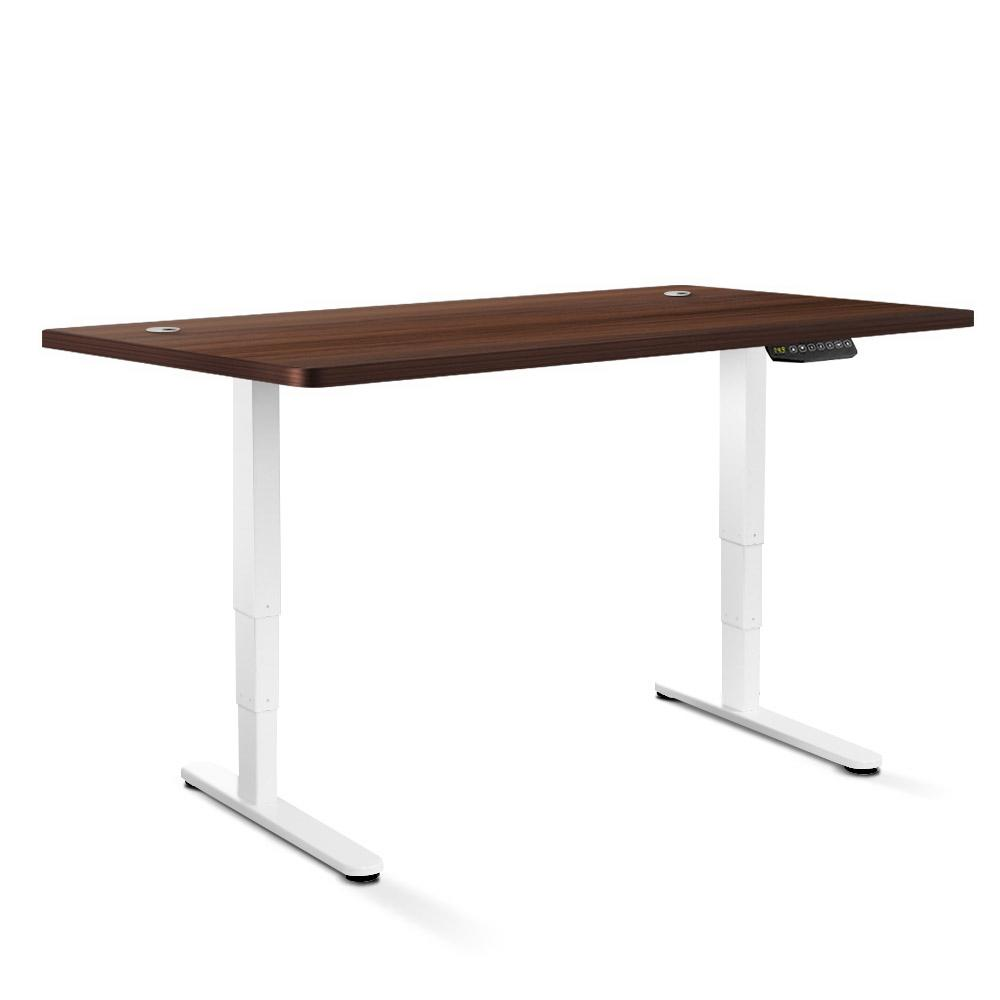 Electric Motorised Height Adjustable Standing Desk - White Frame with 160cm Walnut Top | 360HomeWare