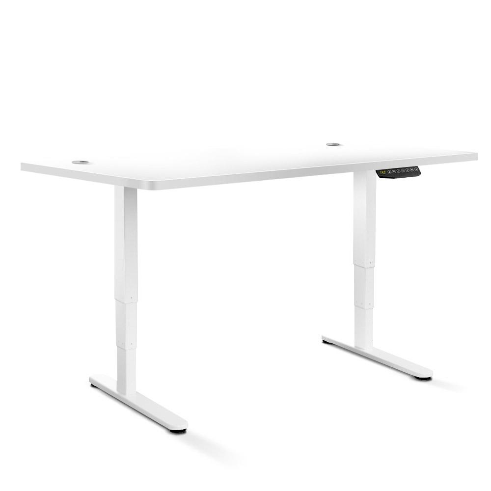 Electric Motorised Height Adjustable Standing Desk - White Frame with 160cm White Top | 360HomeWare