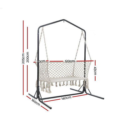 Double Swing Hammock Chair with Stand Macrame Outdoor Bench Seat Chairs | 360HomeWare
