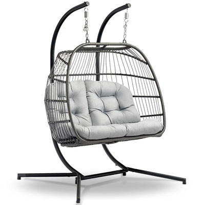 Outdoor Furniture Hanging Swing Chair Egg Hammock Pod Wicker 2 Person Grey | 360HomeWare