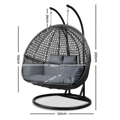 Gardeon Outdoor Double Hanging Swing Chair - Black | 360HomeWare