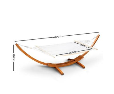 Double Hammock with Wooden Hammock Stand | 360HomeWare