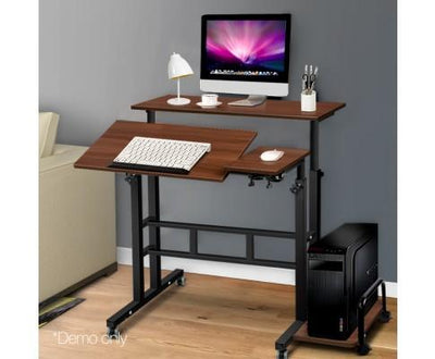 Mobile Twin Laptop Desk (Dark Wood) | 360HomeWare