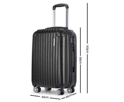 3 Piece Lightweight Hard Suit Case Luggage Black | 360HomeWare