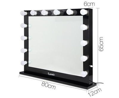 Make Up Mirror with LED Lights - Black 80cm by 65cm | 360HomeWare
