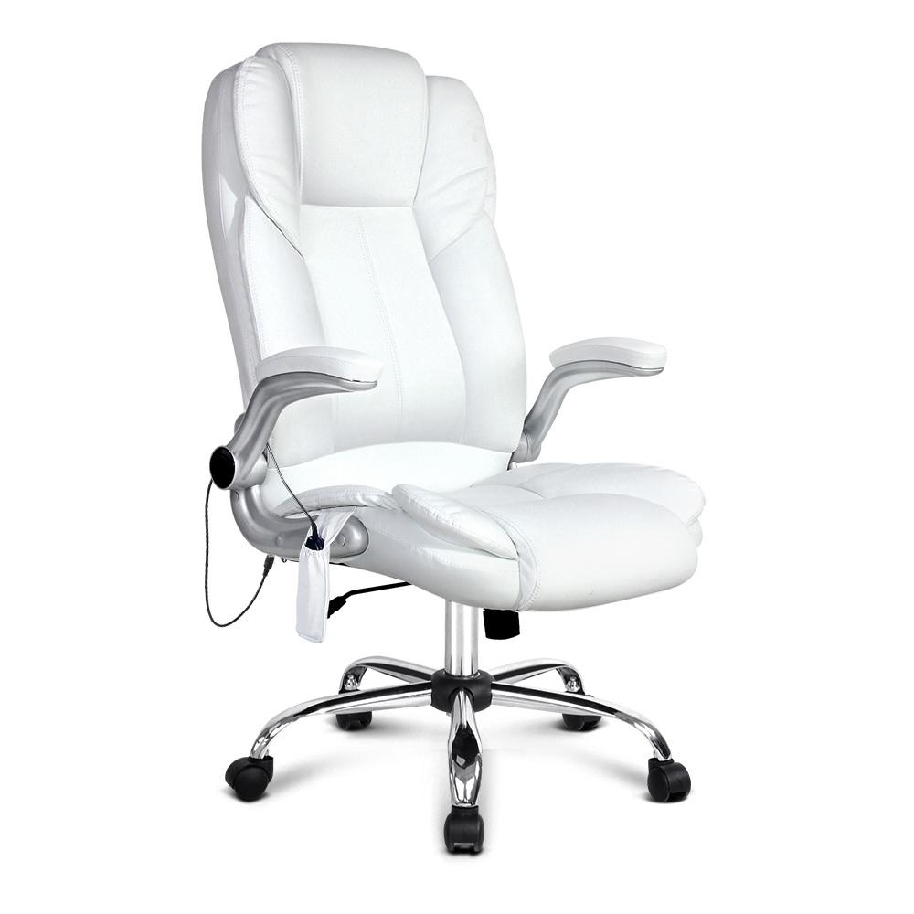 PU Leather 8 Point Massage Office Chair - White | 360HomeWare