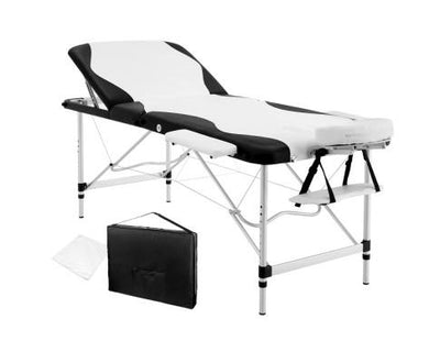 Livemor 3 Fold Portable Aluminium Massage Table - Black & White | 360HomeWare