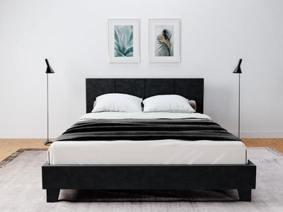 Palermo PU Leather Bed Frame - Black | 360HomeWare