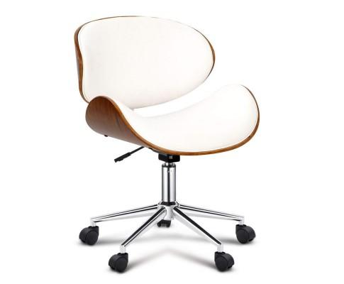 Wooden & PU Leather Office Desk Chair - White | 360HomeWare