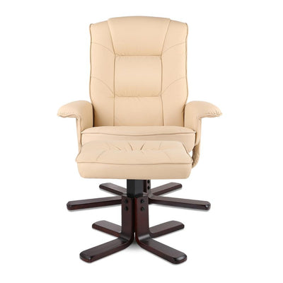 PU Leather Wood Armchair Recliner - Beige | 360HomeWare