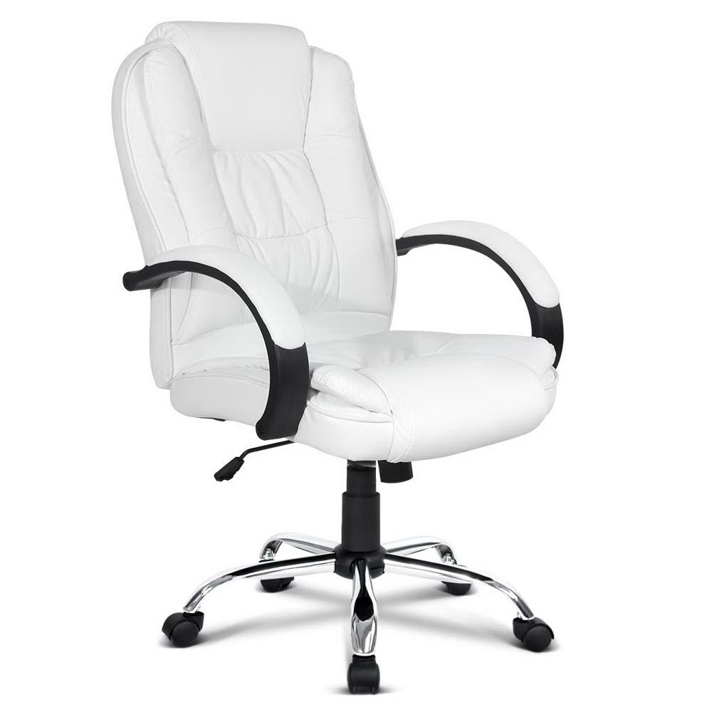 PU Leather Padded Office Desk Computer Chair - White | 360HomeWare