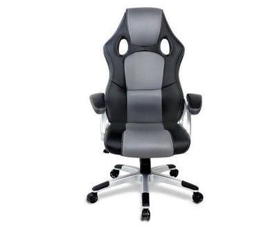 PU Leather Racing Style Office Desk Chair - Black & Grey | 360HomeWare