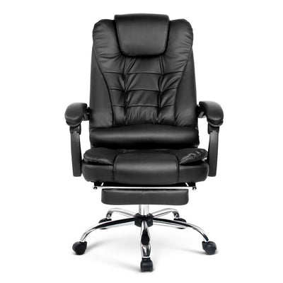 PU Leather Reclining Chair with Footrest - Black | 360HomeWare