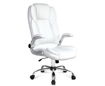 PU Leather Executive Office Desk Chair - White | 360HomeWare