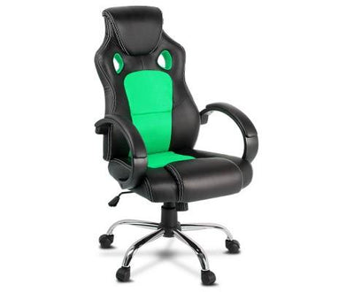 Racing Style PU Leather Office Desk Chair - Green | 360HomeWare