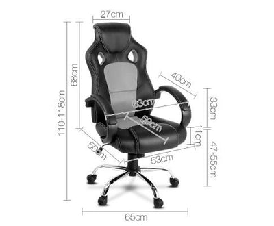 Racing Style PU Leather Office Desk Chair - Grey | 360HomeWare