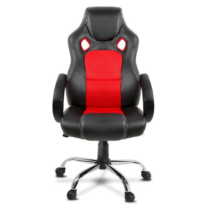 Racing Style PU Leather Office Desk Chair - Red | 360HomeWare