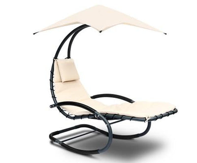 Outdoor Rocking Armchair with Shade - Black & Beige | 360HomeWare