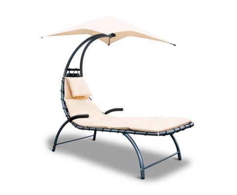 Outdoor Lounge Chair with Shade - Beige | 360HomeWare