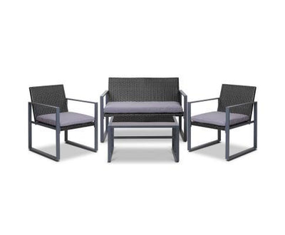 4PC Outdoor Furniture Patio Table Chair Black | 360HomeWare