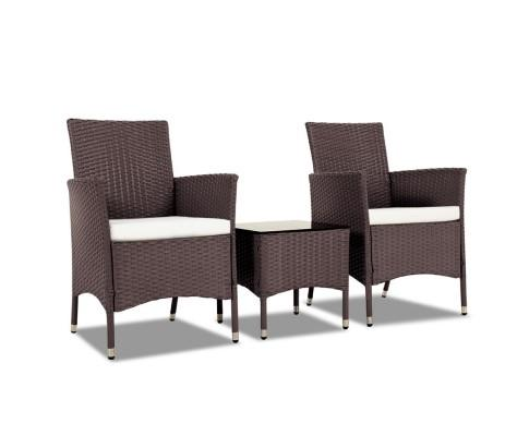 3 Piece Rattan Outdoor Furniture Set - Brown | 360HomeWare
