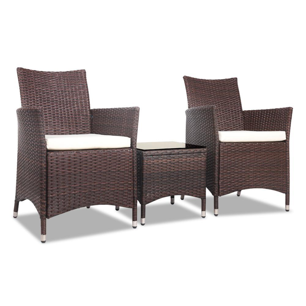 3pc Rattan Bistro Wicker Outdoor Furniture Set Brown | 360HomeWare