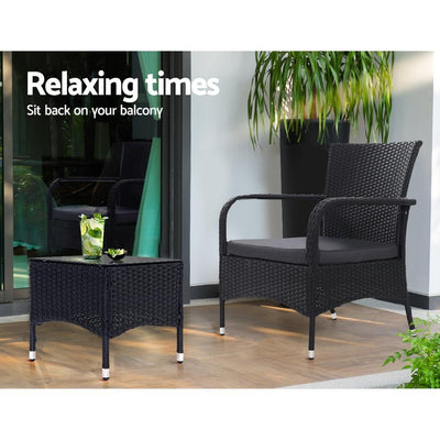 Outdoor Furniture Patio Set Wicker Rattan Outdoor Conversation Set Chairs Table 3PCS | 360HomeWare