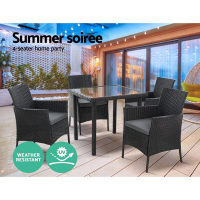 Dining Set Patio Furniture Wicker Chairs Table Black 5PCS | 360HomeWare