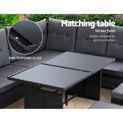 Sofa Set Patio Furniture Lounge Setting Dining Chair Table Wicker Black | 360HomeWare