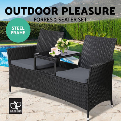 Outdoor Furniture Chair Bench Sofa Table 2 Seat Cushions Wicker Black | 360HomeWare
