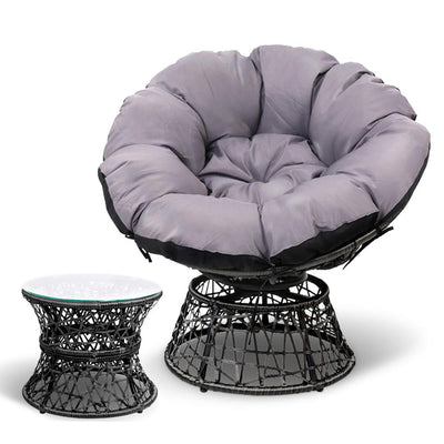 Gardeon Papasan Chair and Side Table - Black | 360HomeWare