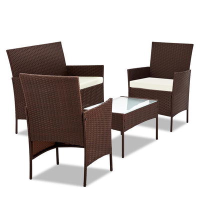 Gardeon 4-piece Rattan Outdoor Set - Brown | 360HomeWare
