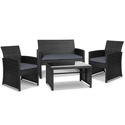 Set of 4 Outdoor Rattan Chairs & Table - Black | 360HomeWare