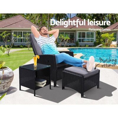 Outdoor Setting Recliner Chair Table Set Wicker lounge Patio Furniture Black | 360HomeWare
