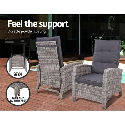 Outdoor Setting Recliner Chair Table Set Wicker lounge Patio Furniture Grey | 360HomeWare