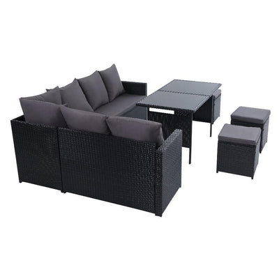 Outdoor Furniture Dining Setting Sofa Set Lounge Wicker 9 Seater Black | 360HomeWare