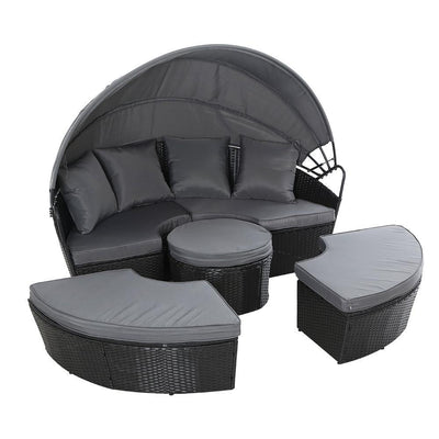 Lounge Setting Patio Furniture Sofa Wicker Rattan Garden Chairs Black | 360HomeWare