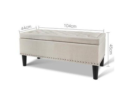 Linen Fabric Storage Ottoman (Taupe) | 360HomeWare