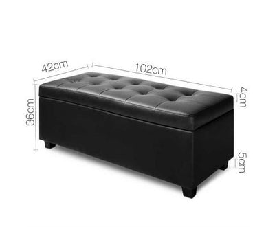 PU Leather Storage Ottoman - Black | 360HomeWare