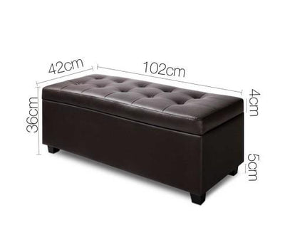 PU Leather Storage Ottoman - Brown | 360HomeWare