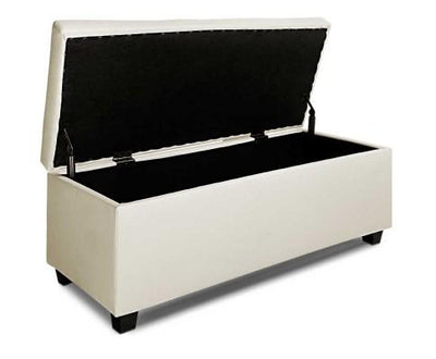 Leather Storage Ottoman (Cream) | 360HomeWare