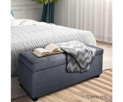 Large Linen Fabric Storage Ottoman (Grey) | 360HomeWare