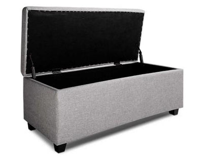 Large Linen Fabric Storage Ottoman (Light Grey) | 360HomeWare