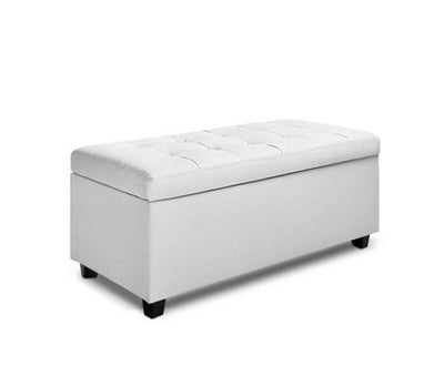 Large PU Leather Storage Ottoman - white | 360HomeWare